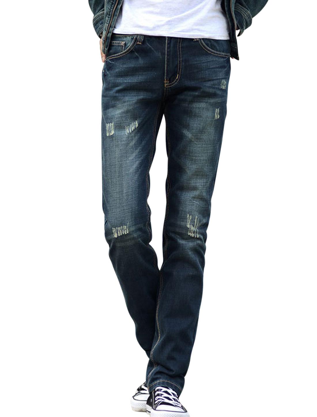 Men Mid Waist Destroied Design Two Back Pockets Denim Pants Navy Blue W34