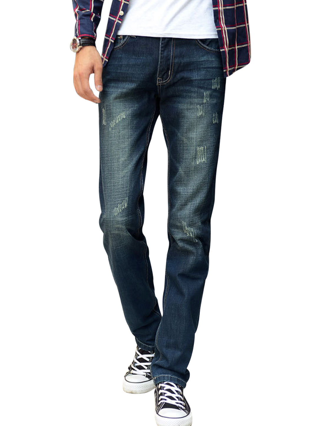 Men Natural Rise Two Back Pockets One Button Casual Jeans Navy Blue W34