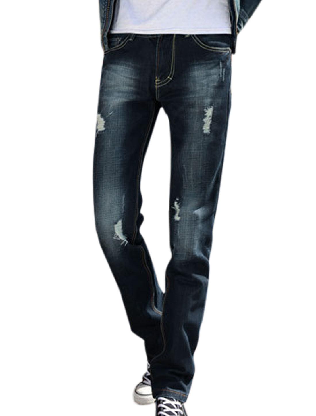 Men Navy Blue Mid Waist Belt Loop Zip Up Straight Destroyed Design Jeans W30