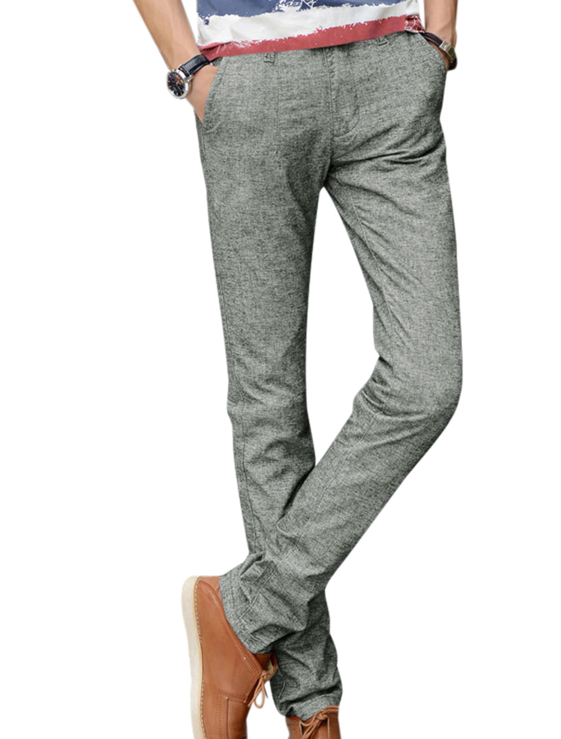 Men Light Cool Gray Mid Rise Zip Fly Belt Loop Button Closure Casual Pants W32
