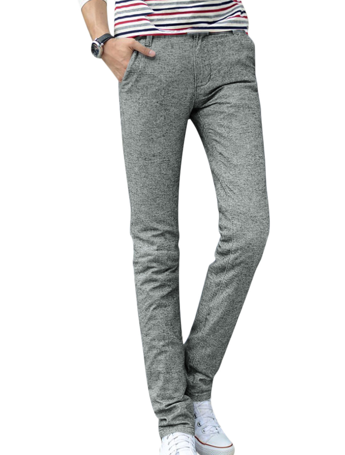 Men Light Cool Gray Zip Fly Belt Loop Straight Front Pockets Slim Fit Casual Pants W30