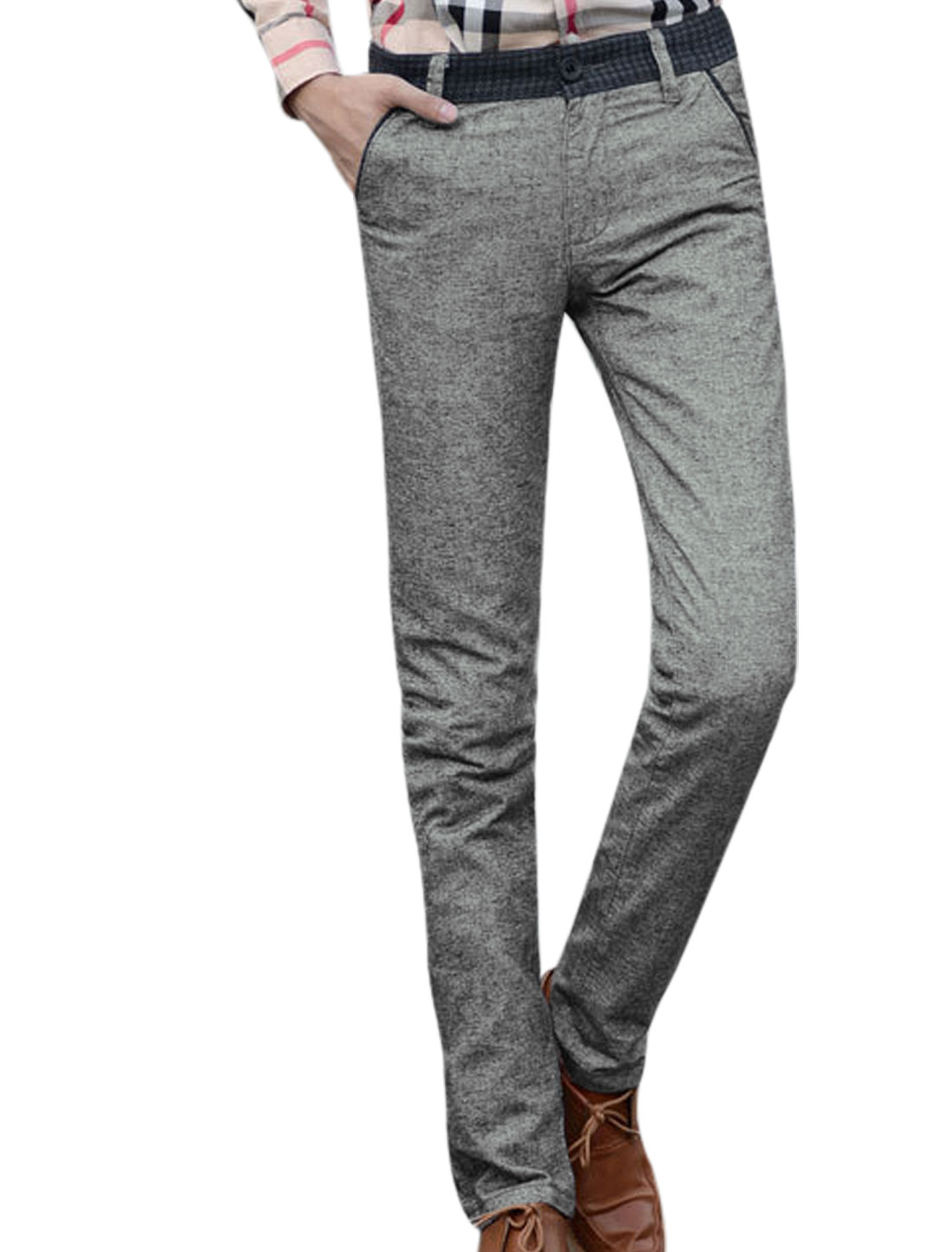 Men Two Back Flap Pockets Natural Waist Slim Fit Casual Pants Heather Gray W32