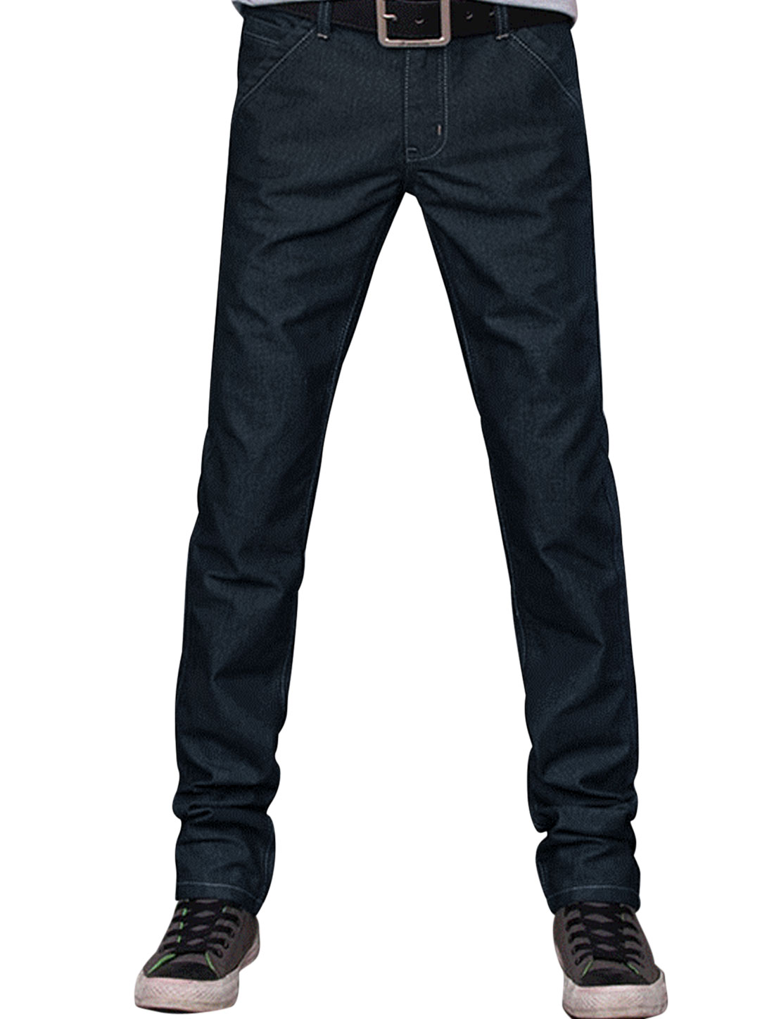 Men Dark Blue Zip Closure Two Pockets Back Side Pockets Straight Casual Pants W33