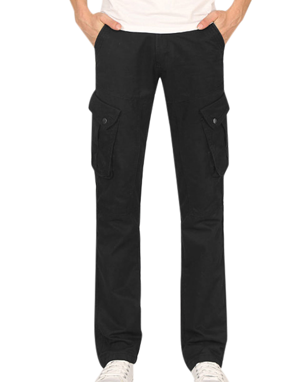 Men Zip Up Button Closed Flap Pocket Design Cargo Pants Black W30