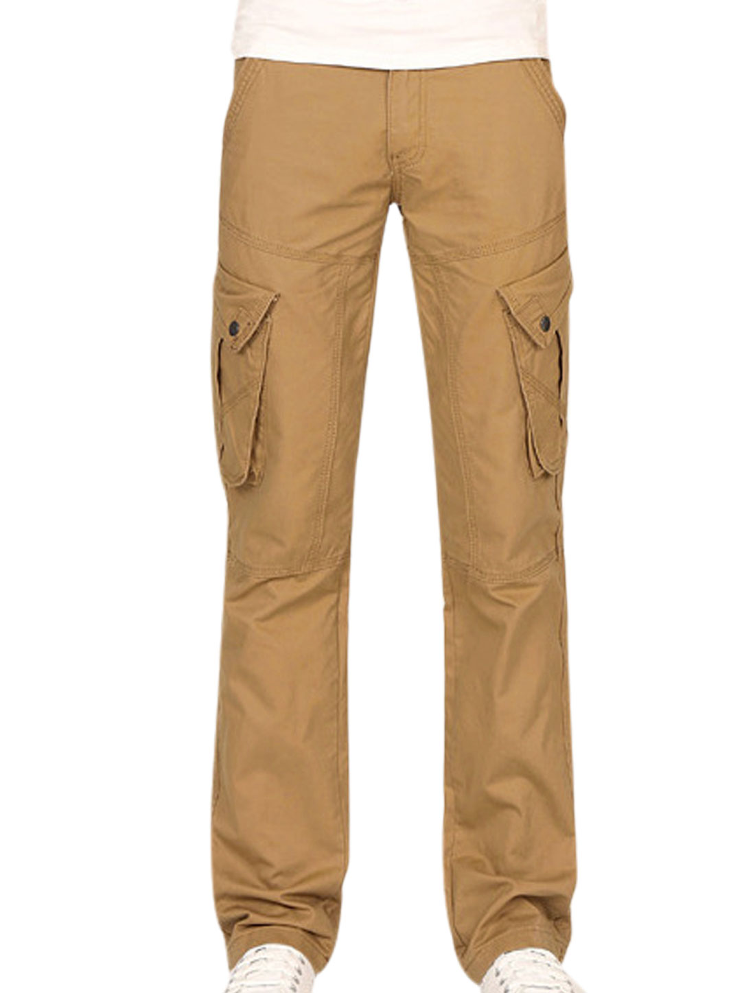 Man Zip Up Double Slant Pocket Sides Button Closed Khaki Cargo Pants W34