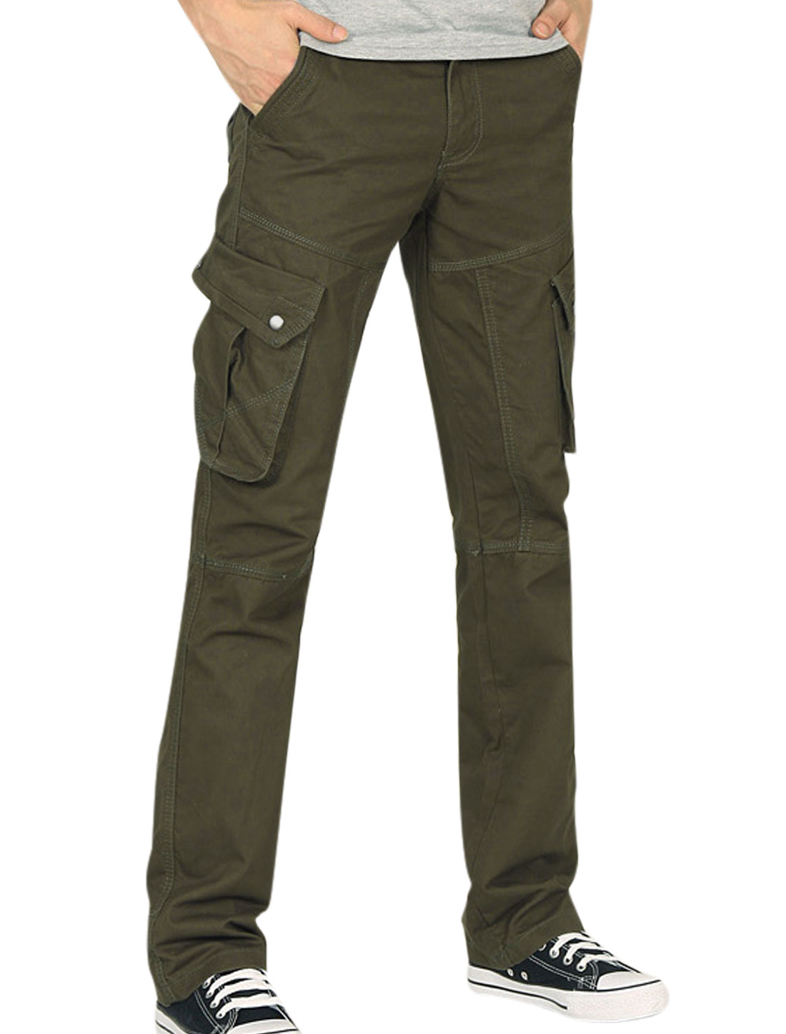 Man New Style Zip Closed Flap Pocket Design Army Green Cargo Pants W34