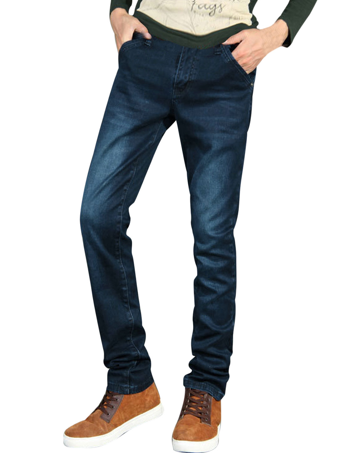 Men Natural Waist One Button Zip Fly Leisure Jeans Navy Blue W30
