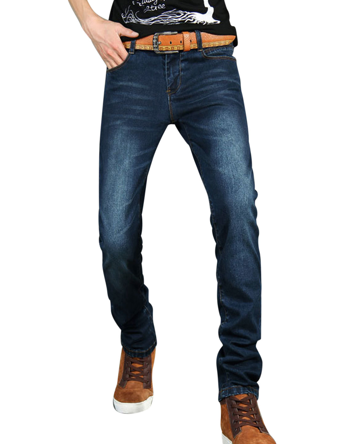 Men Dark Blue Zip Up Mid RiseTwo Pockets Back Side Pockets Casual Jeans W33
