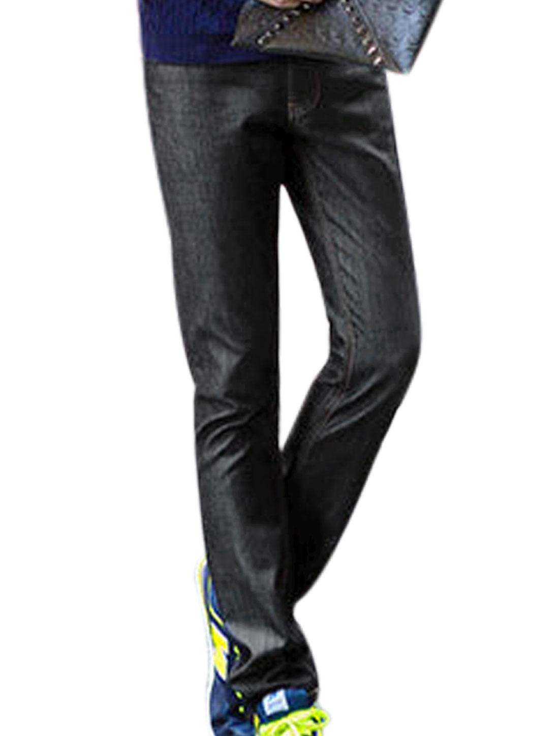 Men Black Mid Rise Belt Loop Zip Fly Front Pockets Fleece Lined Leisure Jeans W30