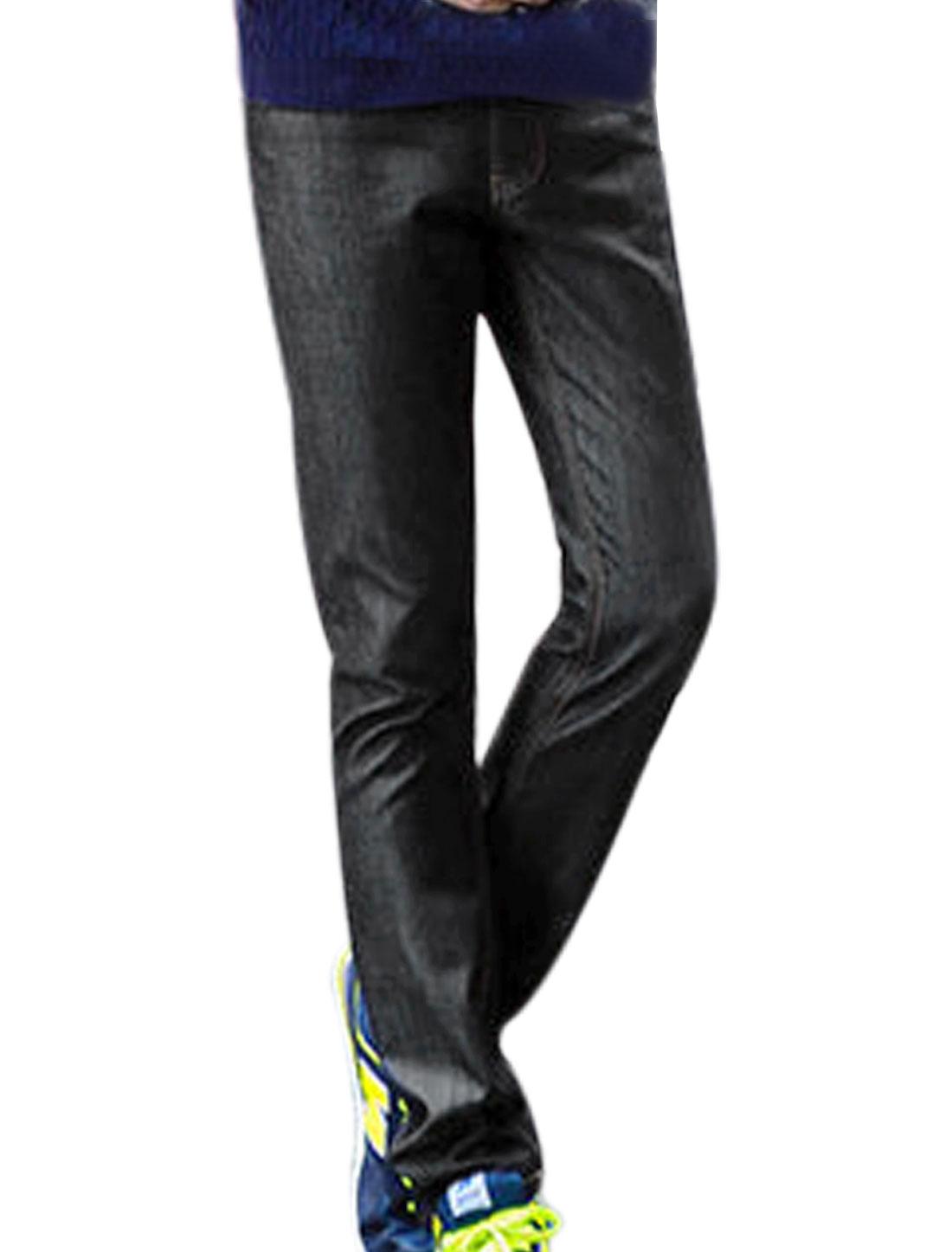 Men Black Mid Waist Belt Loop Zip Up Hip Pockets Fleece Lined Casual Jeans W34