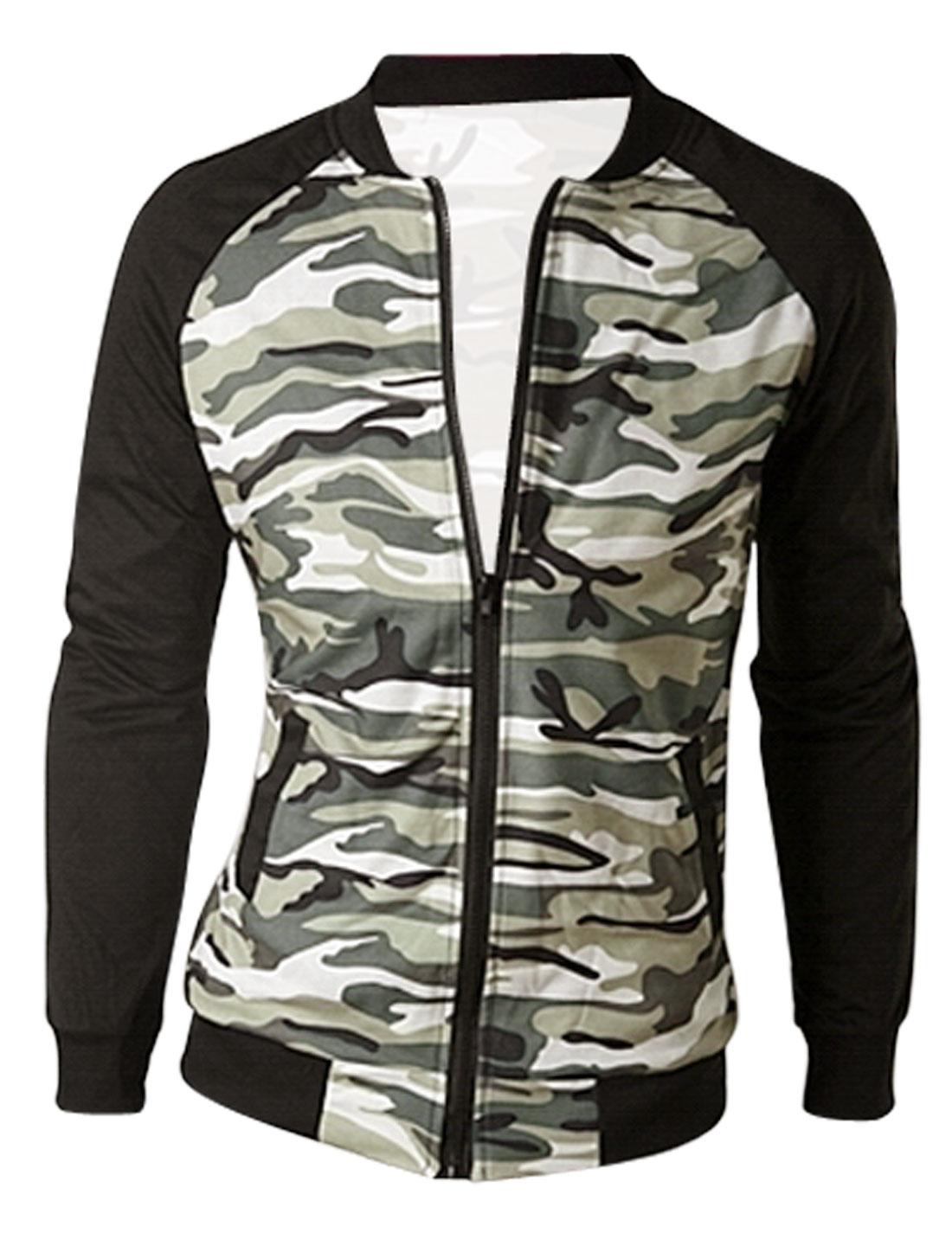 Men Stand Collar Long Sleeve Camouflage Pattern Chic Jacket Beige Black M