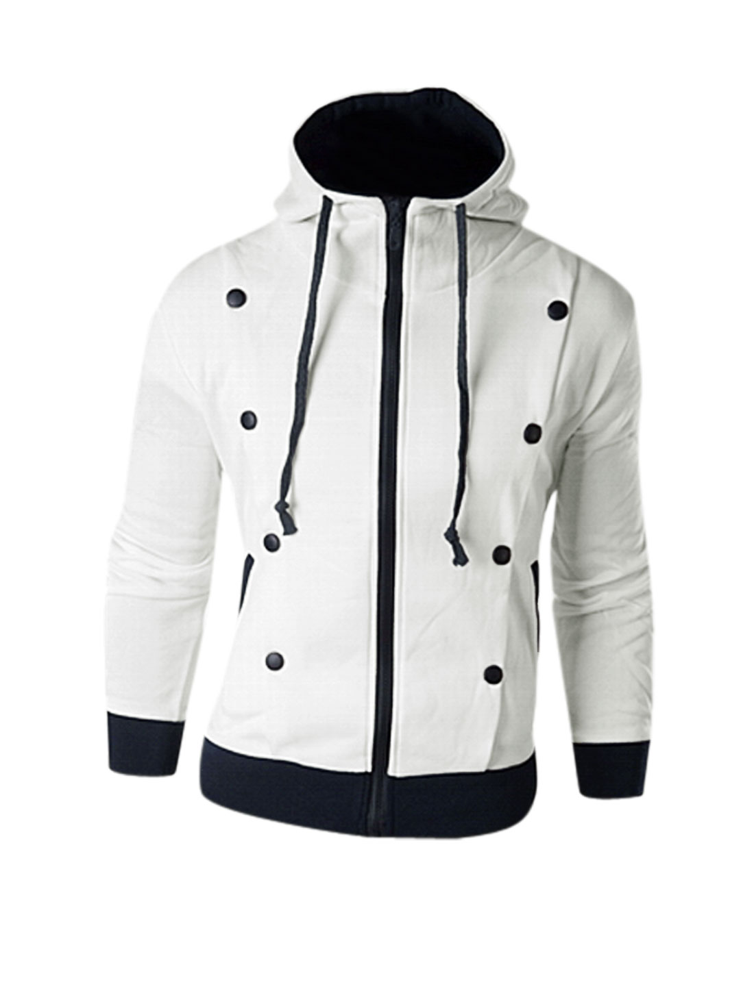 Men Zip Closed Double Breasted Decor Hooded Jacket White S