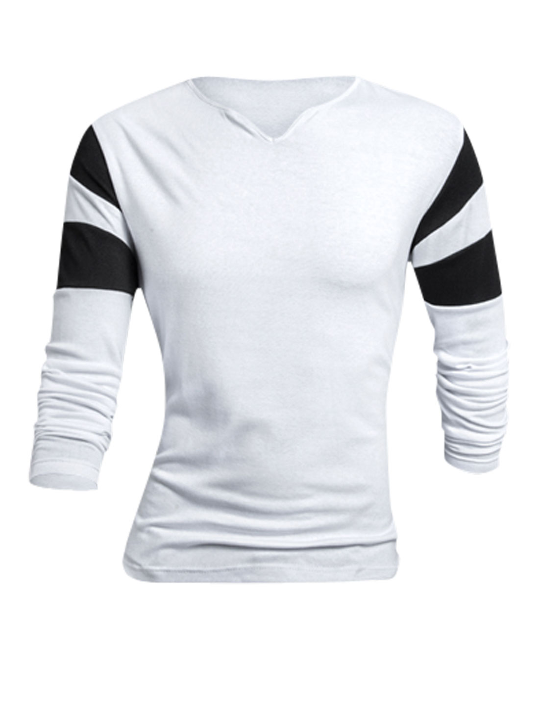 Man White Contrast Color Pullover Long Sleeves Slim Fit Casual T-Shirt L