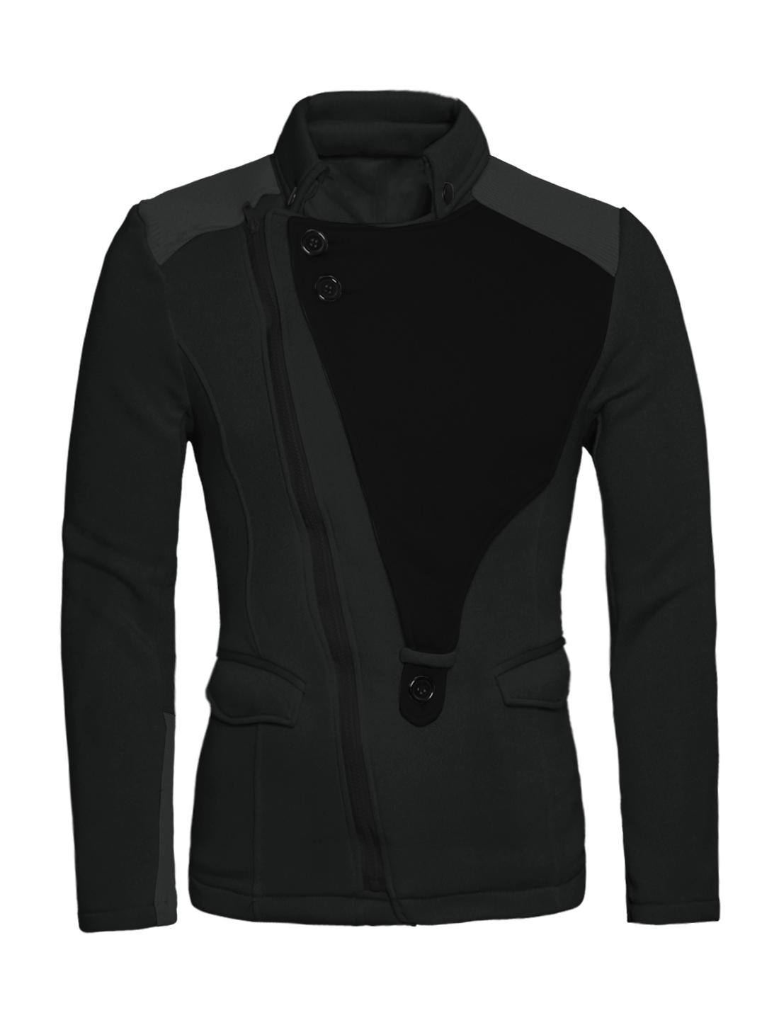 Man Color Block Panel Design Incline Zip Up Dark Gray Casual Jacket M