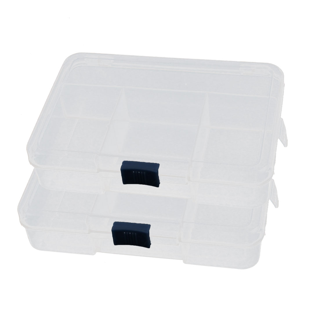 2 Pcs Plastic 5 Components Earrings Jewelry Organizer Storage Box Holder