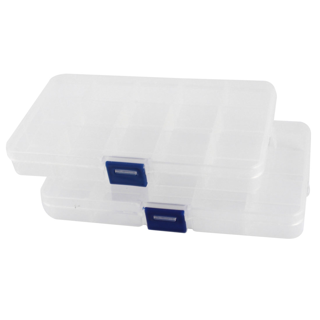 2pcs Clear White Plastic 15 Slots Electronic Components Storage Case Box Organizer