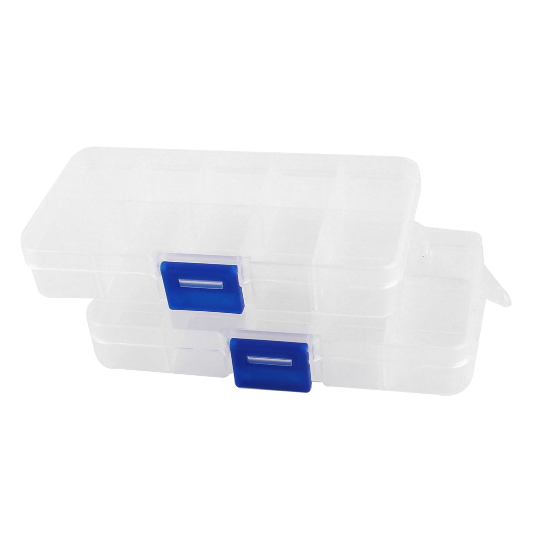 2pcs Plastic 10 Compartments Electronic Components Storage Box Case Container
