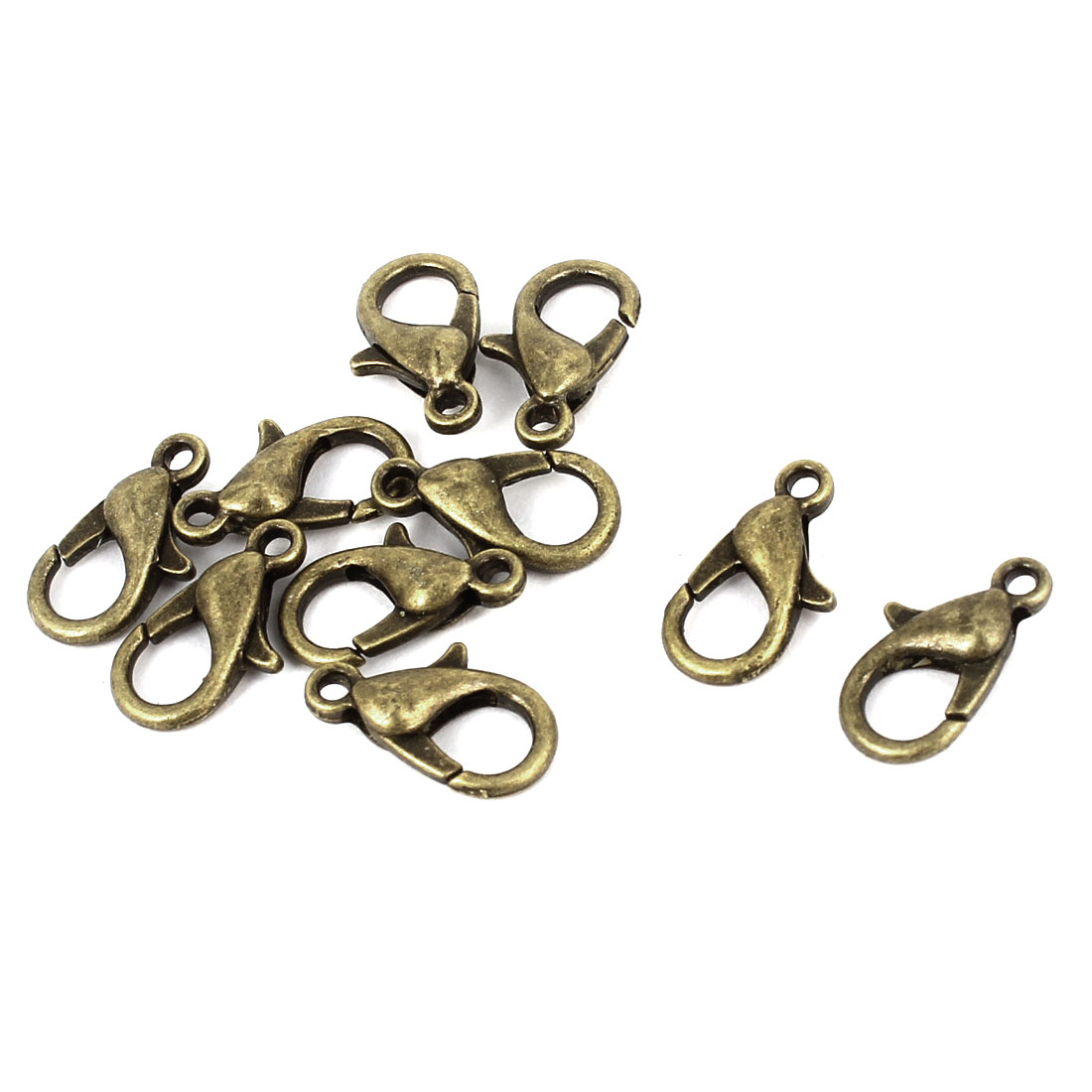 10 Pcs Bronze Tone 12mm Lobster Claw Clasps Buckles Necklace Fasteners