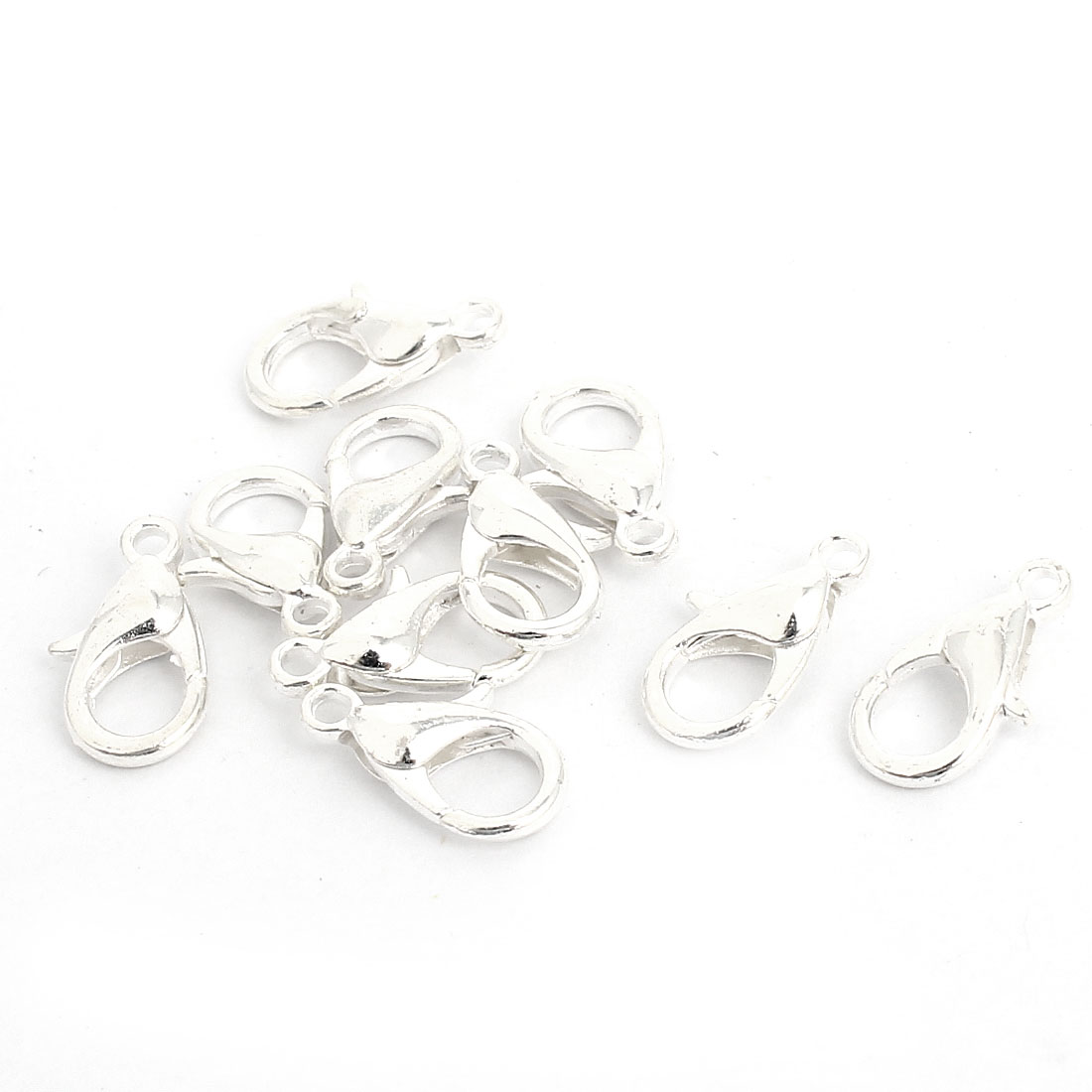 Bracelet Chain Findings Silver Tone Lobster Claw Parrot Clasps 12mm 10 Pcs