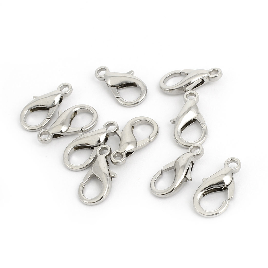 10 Pcs 16x8mm Silver Tone Lobster Claw Clasps Connectors Jewelry Findings