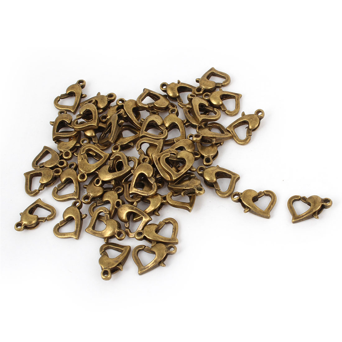 50 Pcs Bronze Tone Heart Design Spring Clasps Jewelry Connector Kits