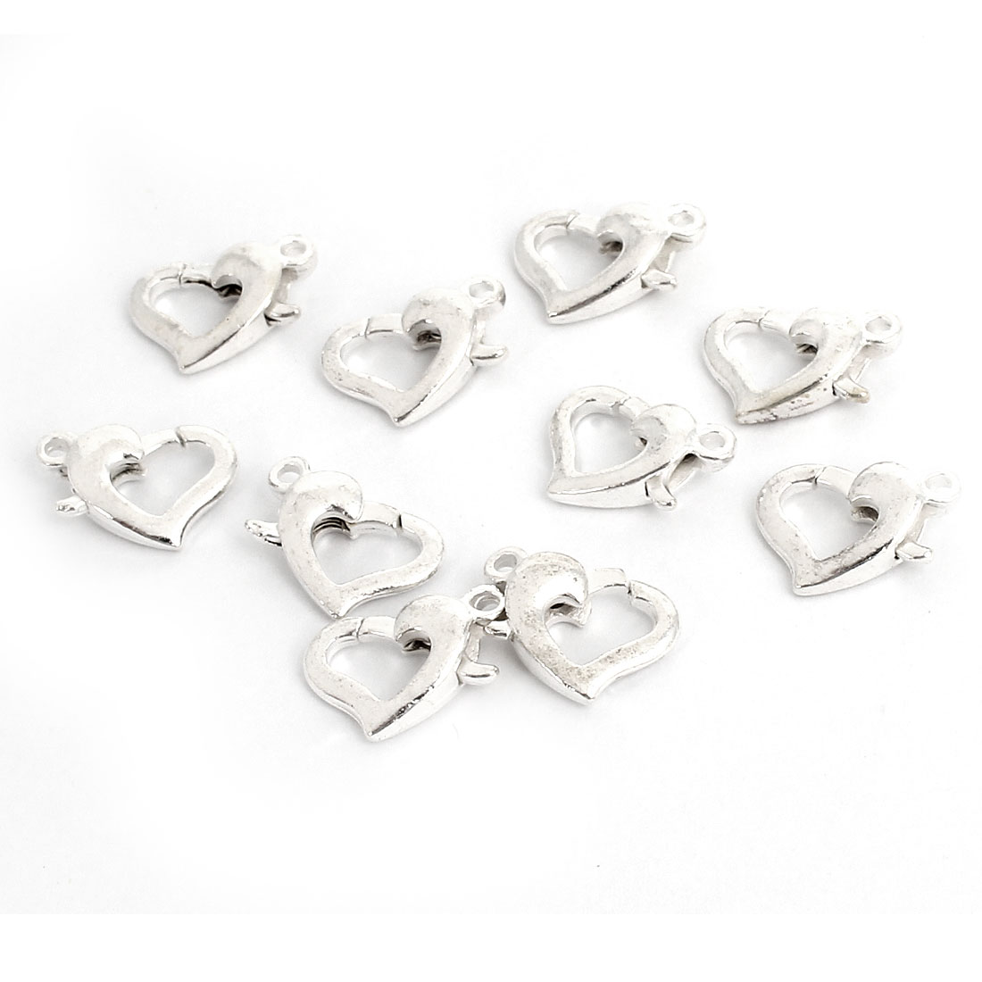 10 Pcs Silver Tone Heart Design Lobster Clasps Jewelry Connector Kits