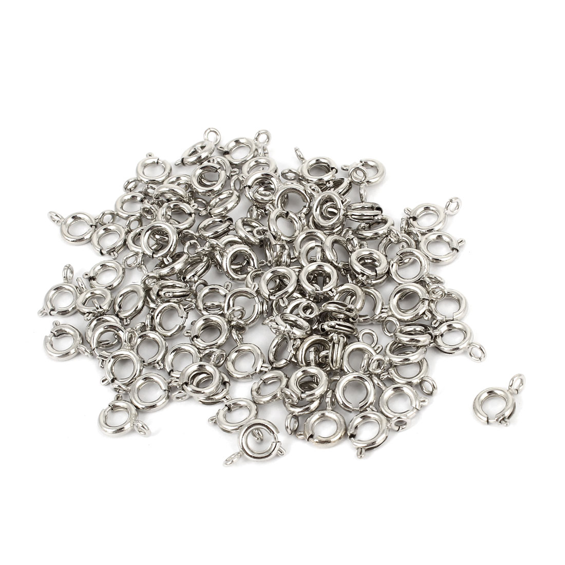 6mm Round Eyelet Spring Ring Clasps Jewelry Chain Connector Kits 100 Pcs