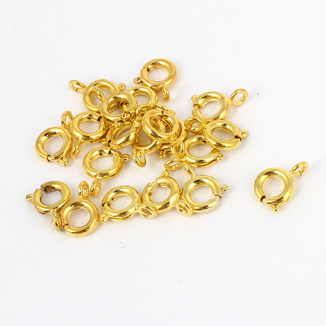 Necklace Bracelet Connector Gold Tone Spring Ring Clasps 6mm 20 Pcs