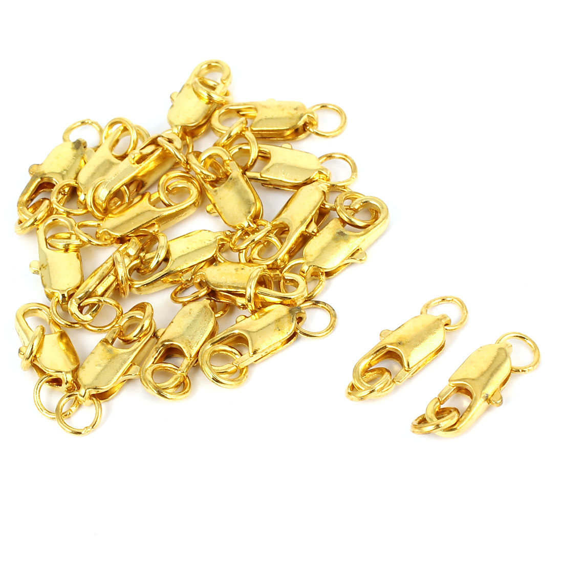 Chain Connectors Straight Lobster Claw Clasps Gold Tone 12mm 20 Pieces