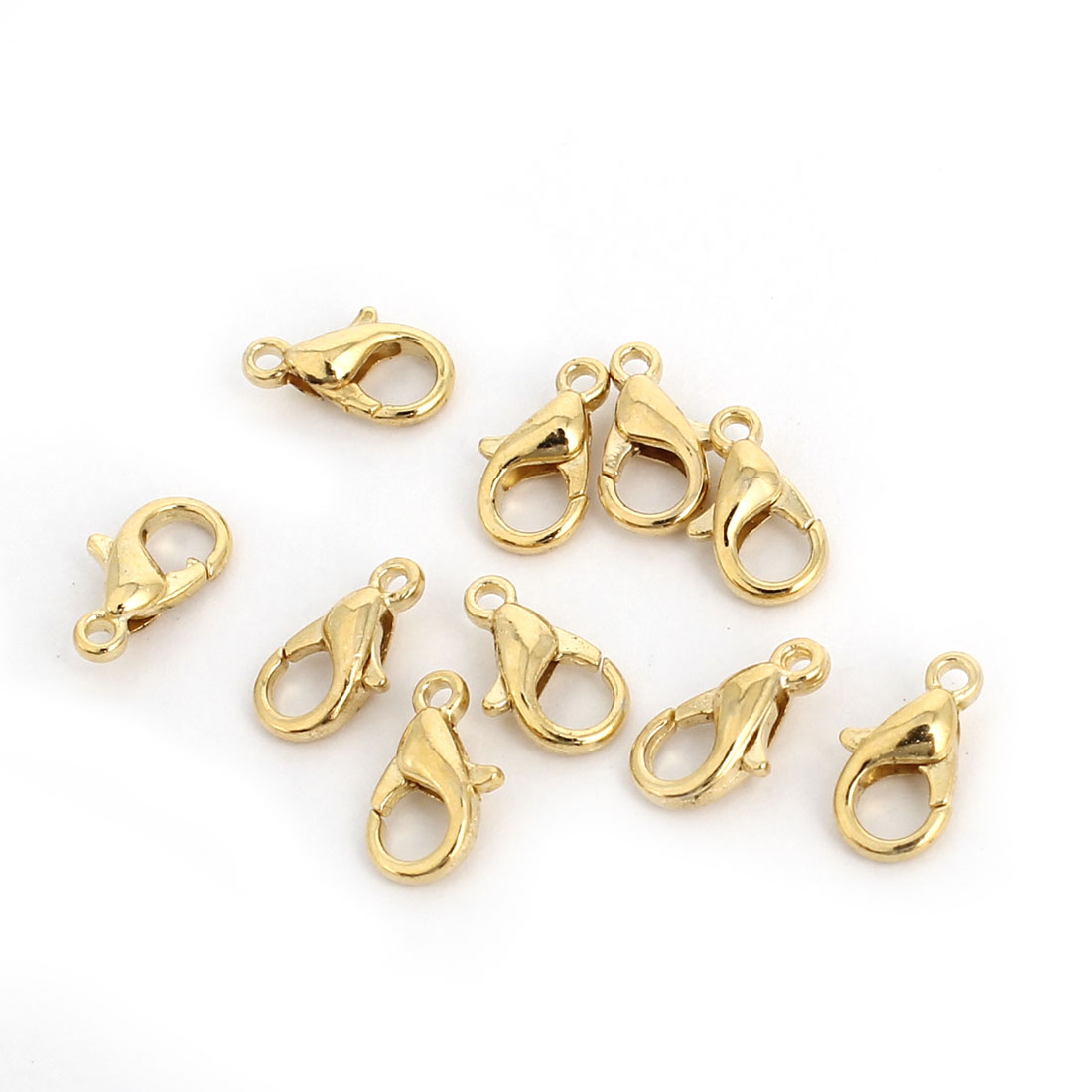 Necklace Bracelet Findings 10mm Gold Tone Lobster Claw Clasps 10 Pcs