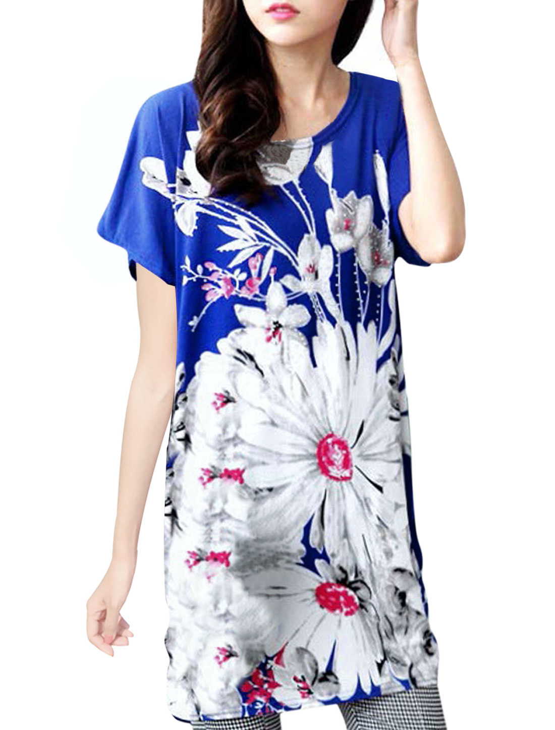 Women Flower Pattern Round Neck Loose Fit Blouse Royal Blue L