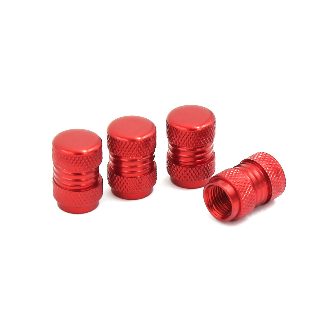 4pcs Red Aluminum Thread Hole Diameter 9mm Tire Tyre Stem Caps for Cars