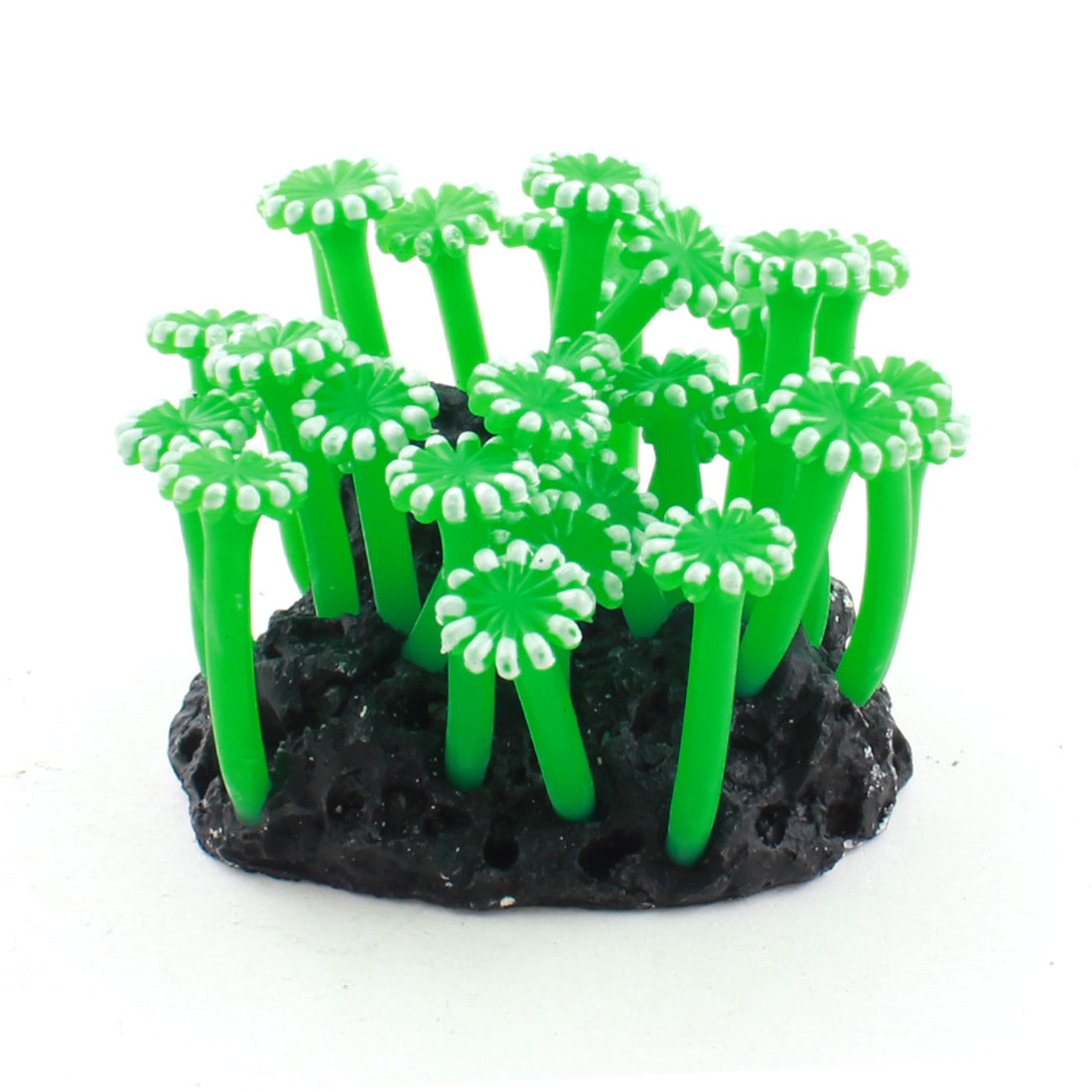 Fish Tank Aquarium Black Rockery Base Green White Soft Plastic Artificial Water Coral Plant Sunflower Decor 7cm Height