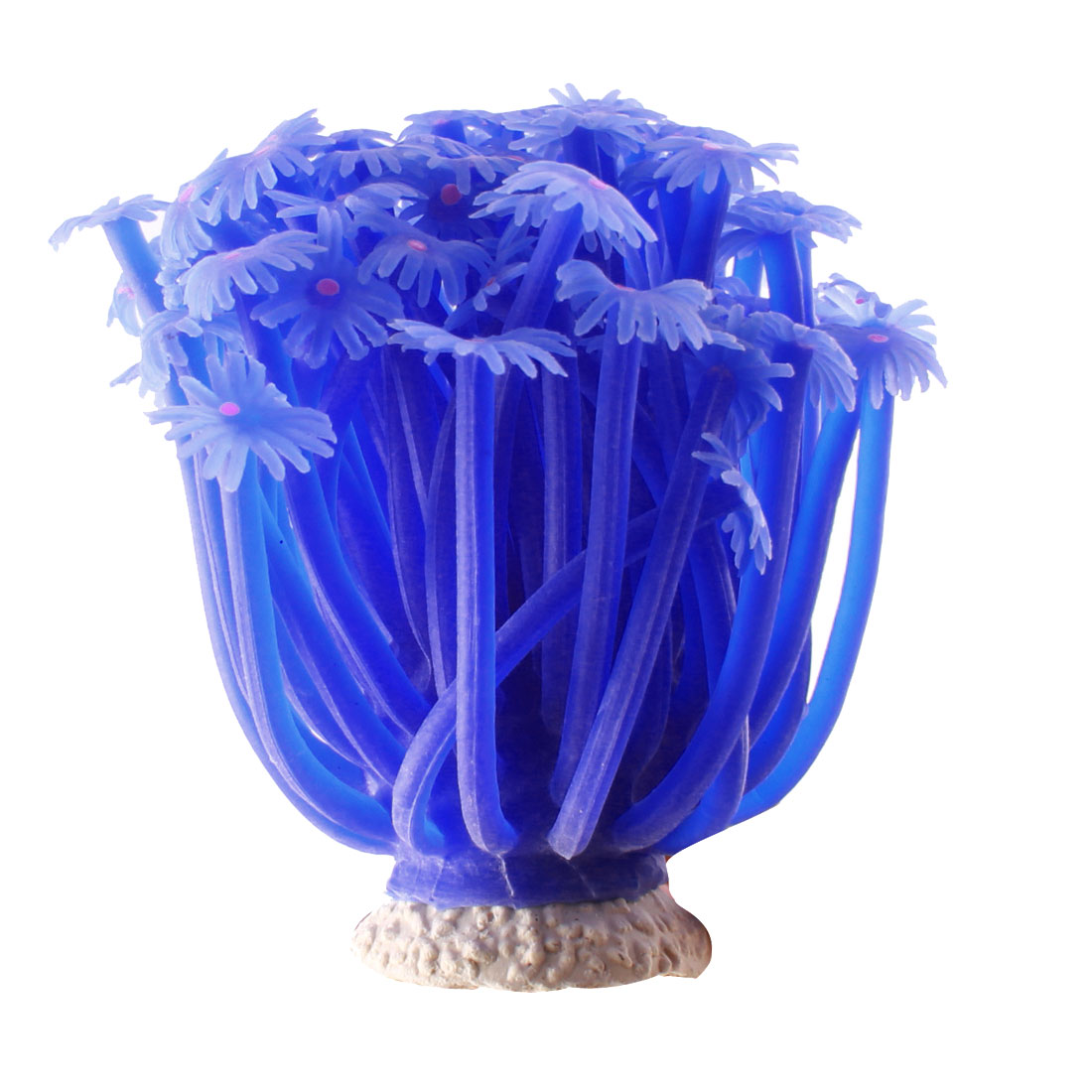 "Blue Silicone Manmade Water Coral Plant Fish Tank Aquarium Ornament 3"" Height"
