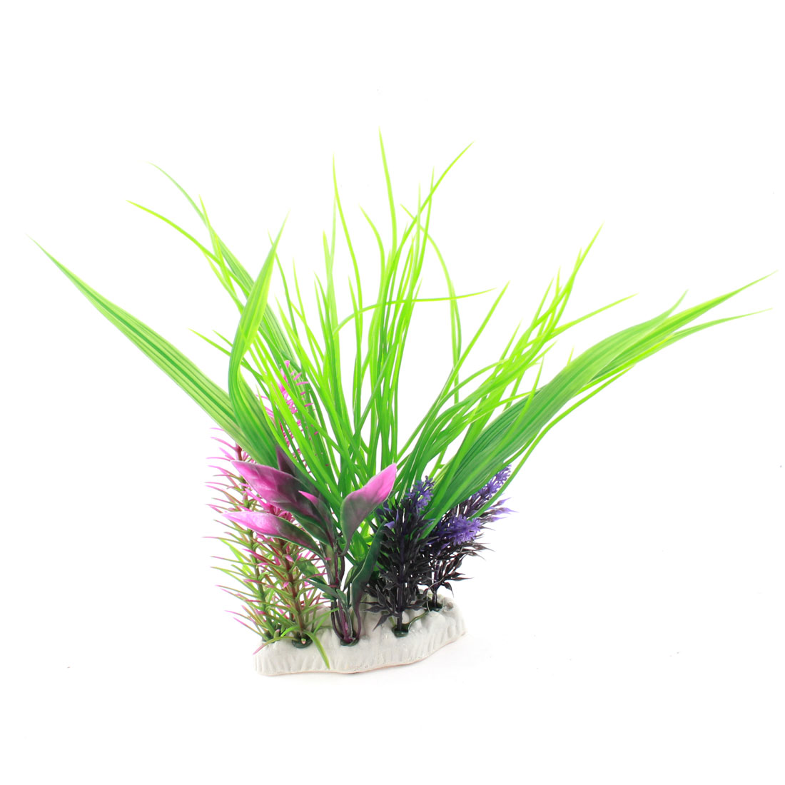 Green Purple Plastic Aquatic Plants Decor 23cm Height for Aquarium Fish Tank