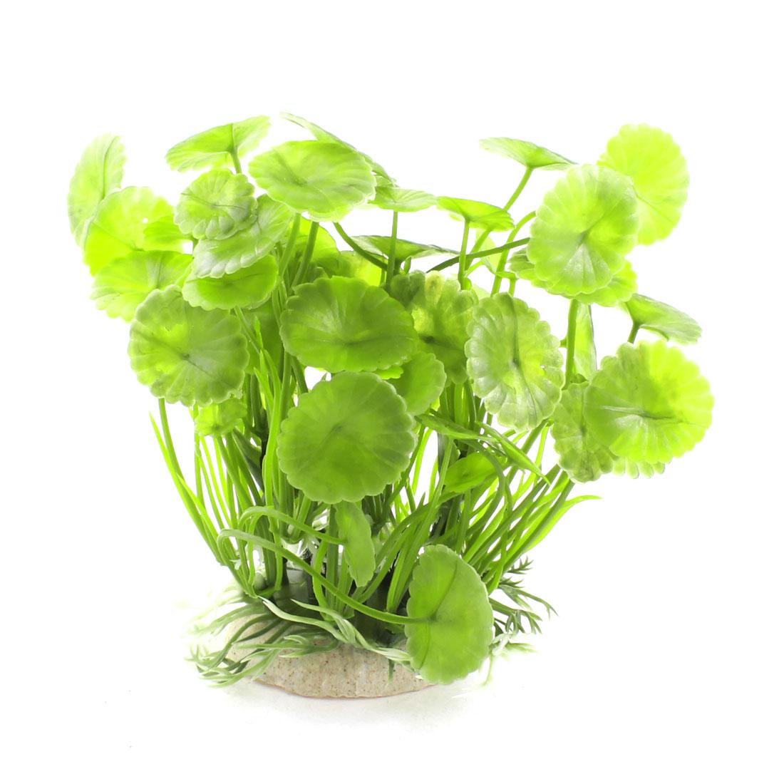 "Fish Tank Aquarium Green Plastic Manmade Water Plants Ornament Decor 4.7"" Height"