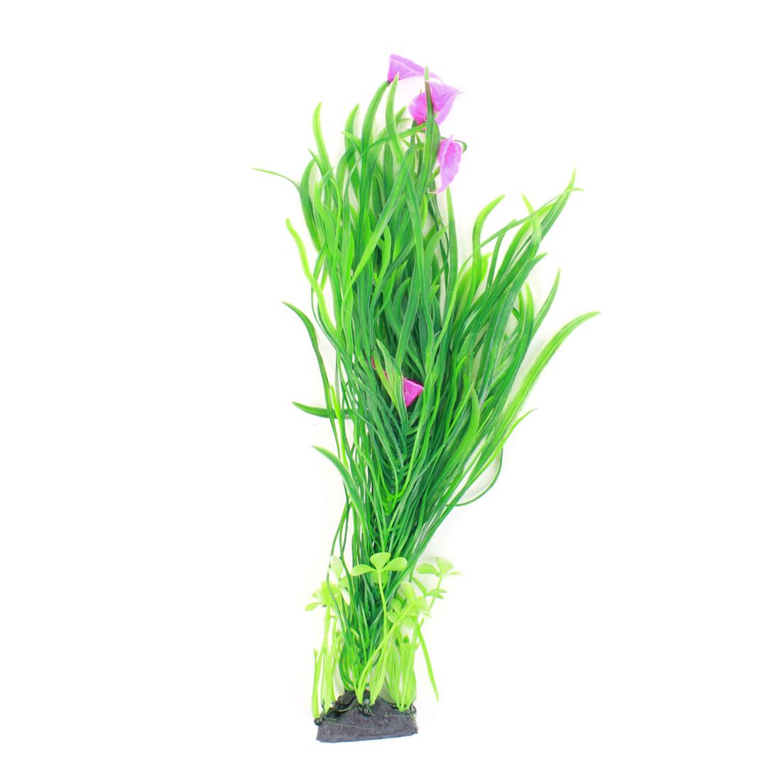 """Fish Tank Aquarium Green Purple Plastic Water Grass Plant Flower Ornament 16"""" Height"""