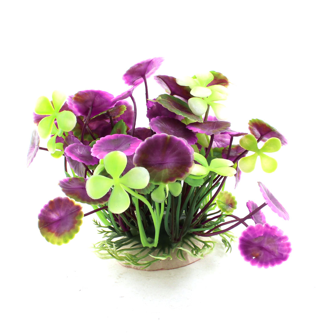 "Aquarium Purple Green Plastic Manmade Water Plants Ornament 4.7"" Height"