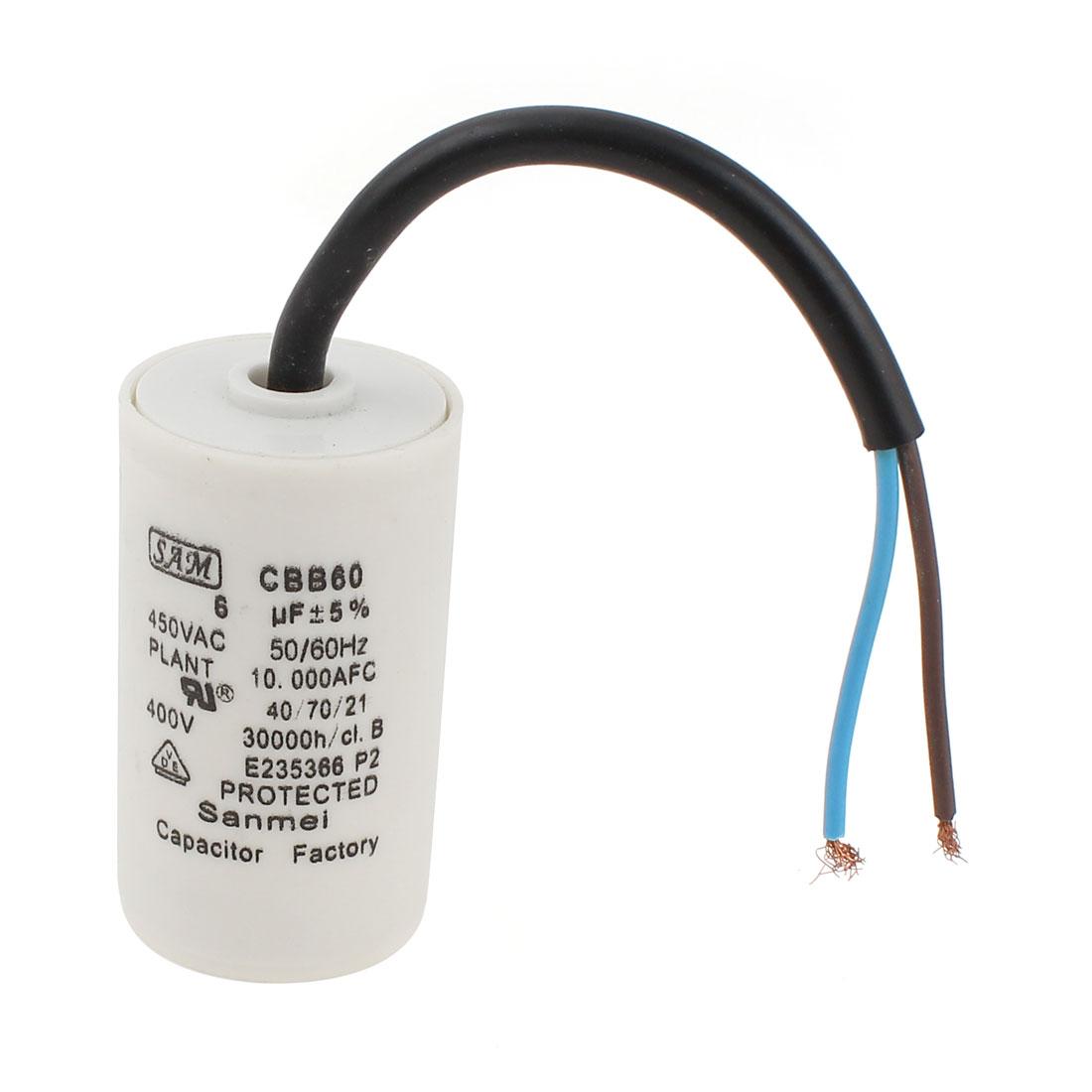 Polypropylene Film AC Motor Capacitor 6uF 450V CBB60 5% Tolerance