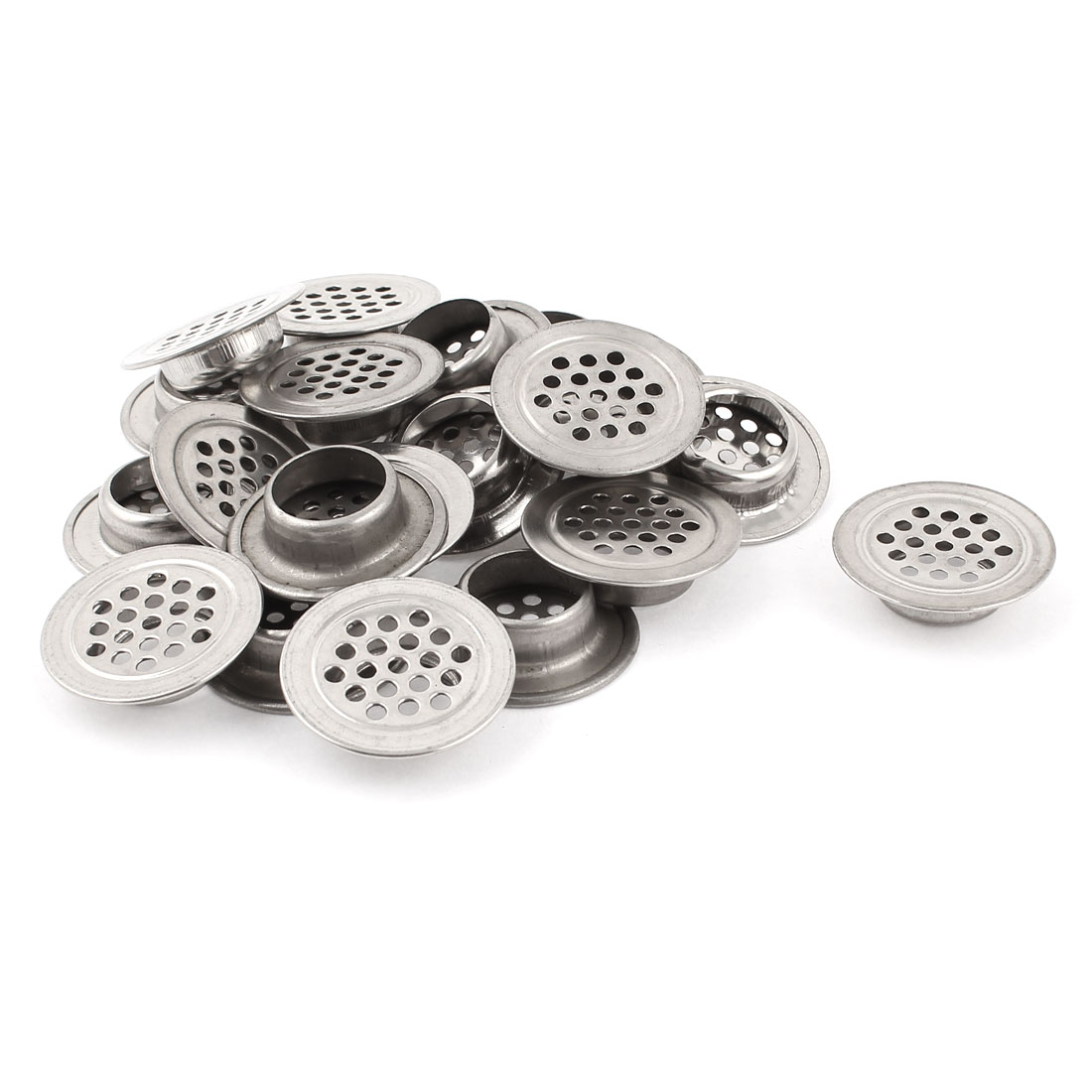 "Home Silver Tone Stainless Steel Round Air Vent Louver 1.2"" Dia 20pcs"