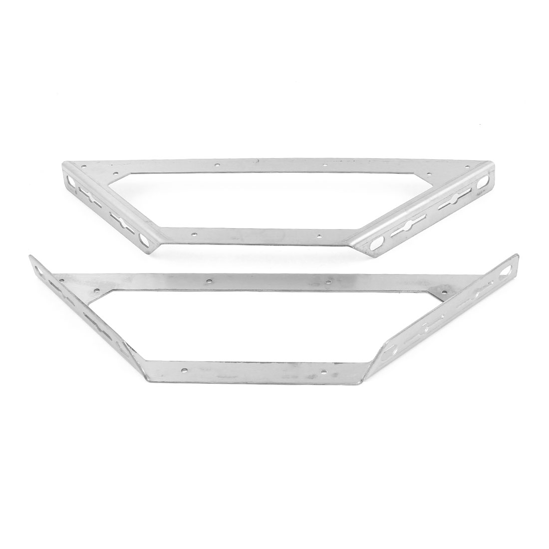 "2 Pcs Silver Tone Stainless Steel Support Shelf Bracket 390mm 15.3"" Length"