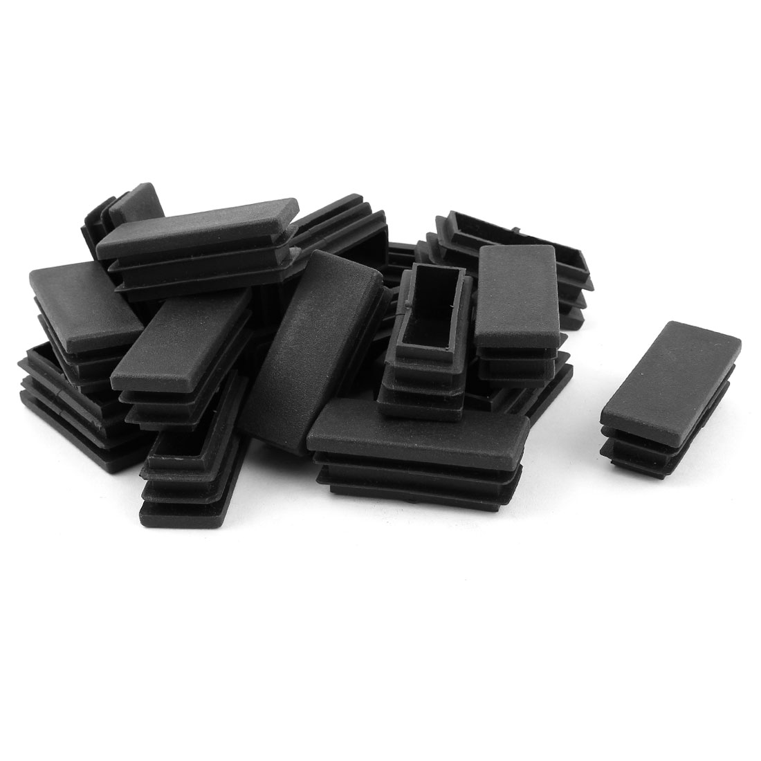 20PCS Black Plastic Rectangle Shape Tube Inserts End Blanking Cap 20mm x 50mm