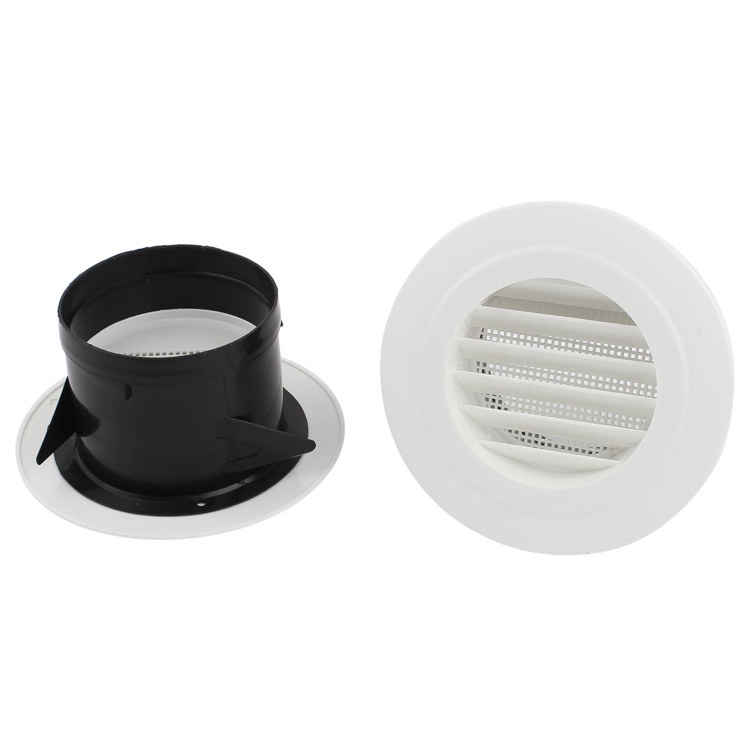 2pcs Black White Plastic 100mm Outer Dia Oblique Style Air Grilles Vent Valve