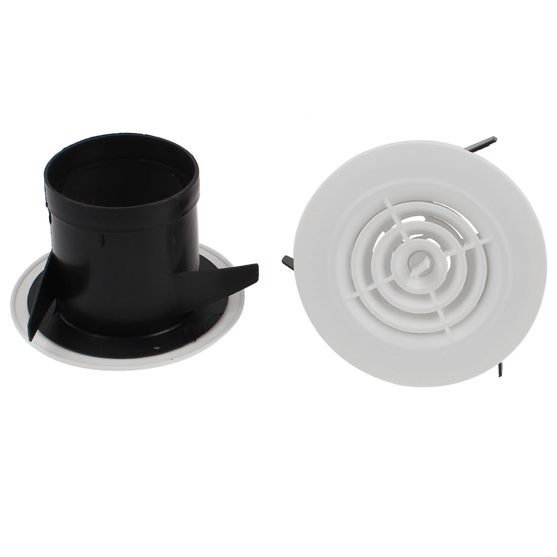 2pcs Black White Rotary 75mm Outer Dia Air Grilles Vent Valve for Bathroom