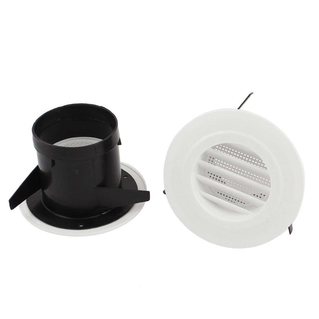 2pcs Black White Plastic 75mm Outer Dia Oblique Air Grilles Vent Valve