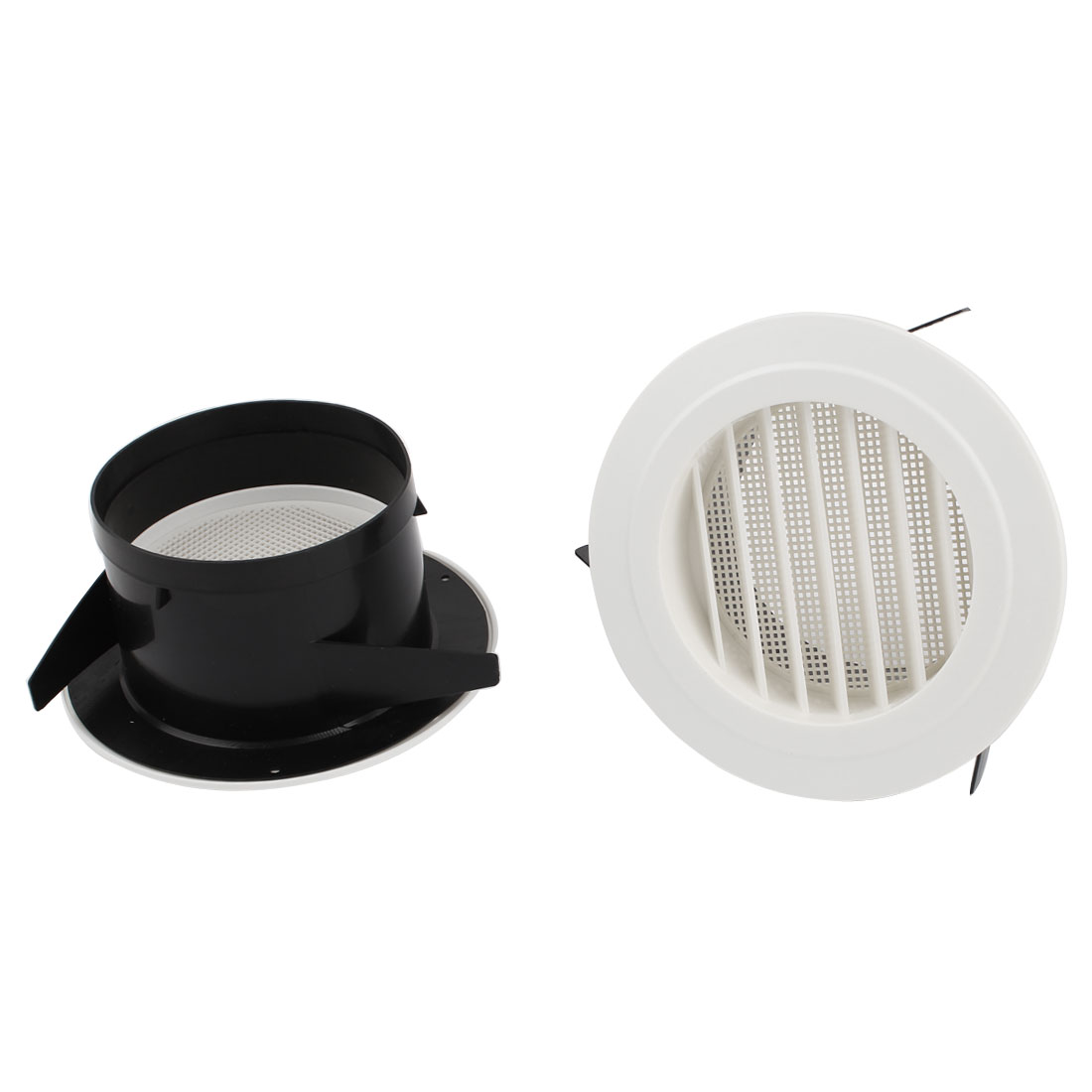 2pcs Black White Plastic 125mm Outer Dia Oblique Air Grilles Vent Valve