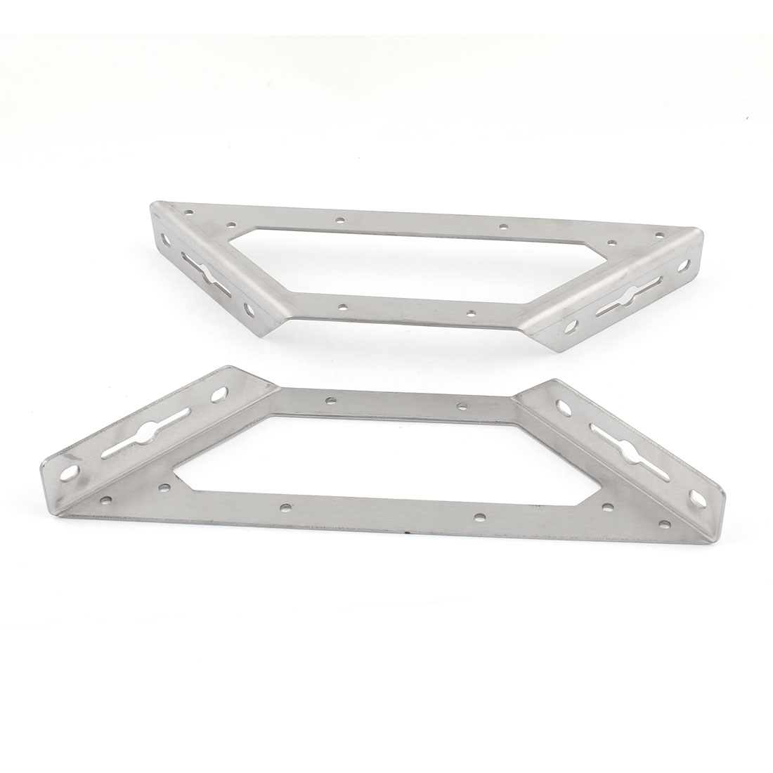 "2 Pcs Silver Tone Stainless Steel Support Shelf Bracket 245mm 9.6"" Length"