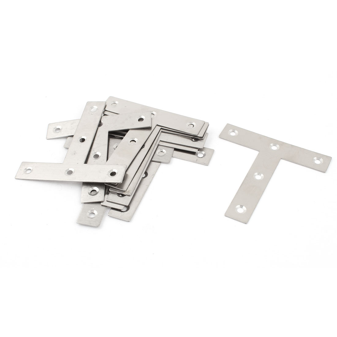 10 Pcs Silver Tone Stainless Steel Wall Mount T Style Support Shelf Bracket 8cm