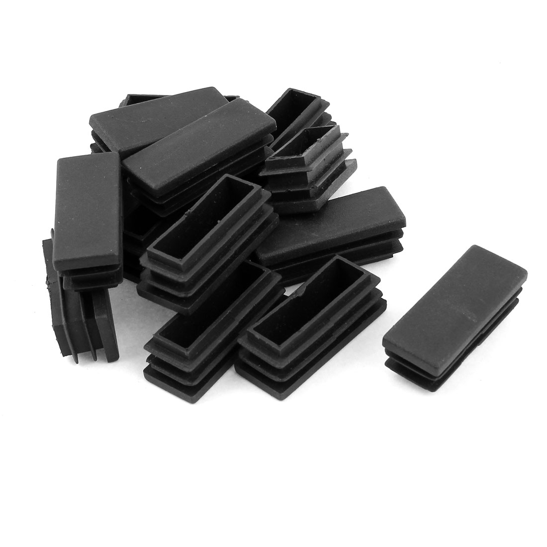 15PCS Black Plastic Rectangle Shape Tube Inserts End Blanking Cap 20mm x 50mm