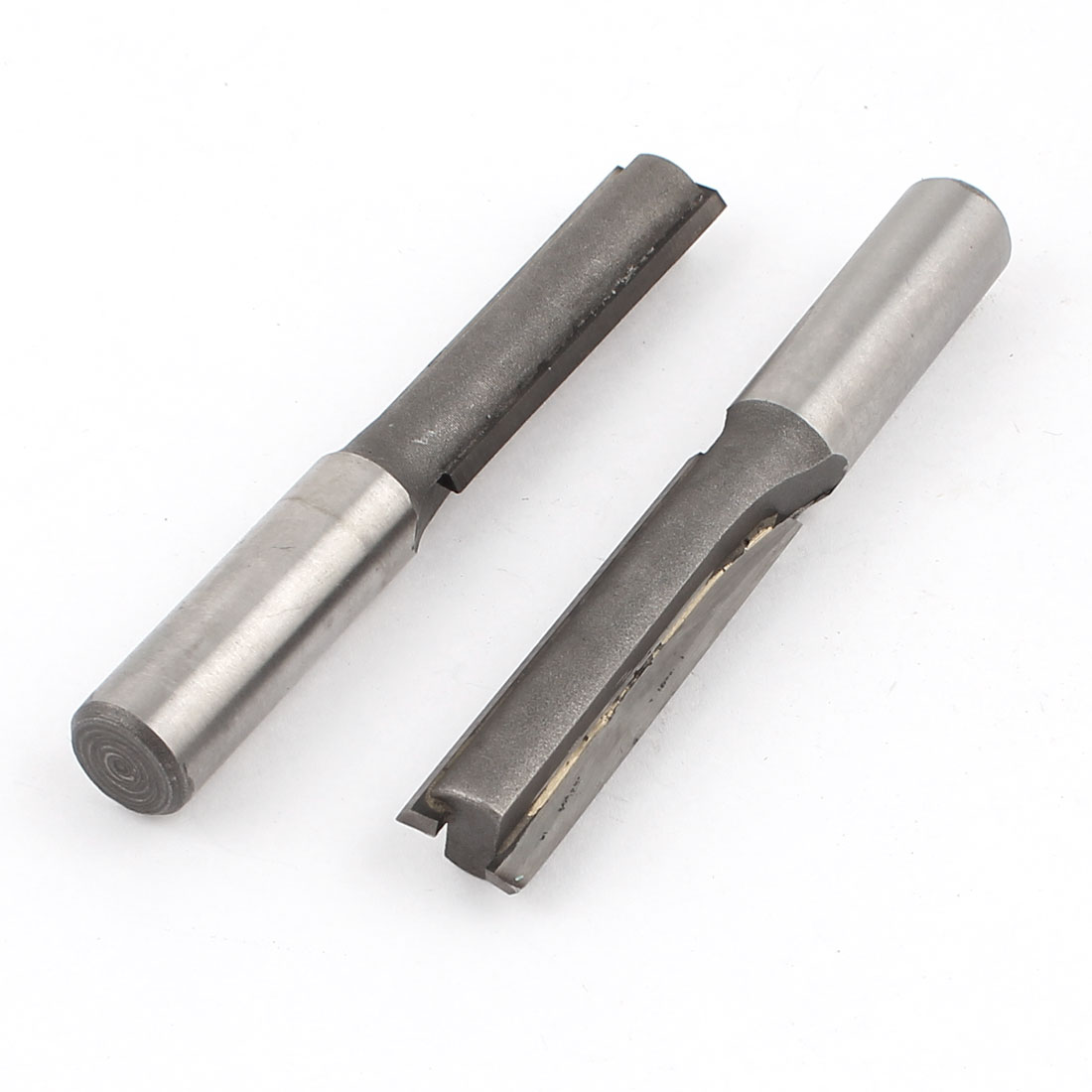 "2 Pcs Long Depth Two Flute Straight Router Bit 1/2""x 1/2"" x 2"" Gray"